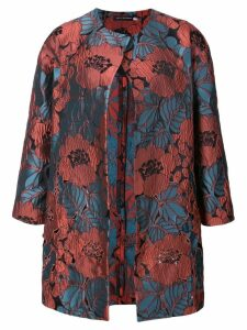 Josie Natori cut out embroidered topper jacket