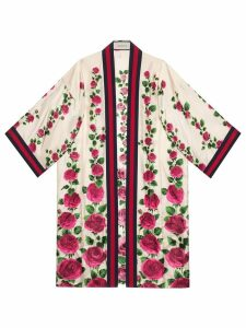 Gucci Rose Garden print silk kimono - Pink