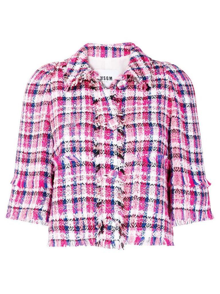MSGM fringe-trim check tweed jacket - Pink