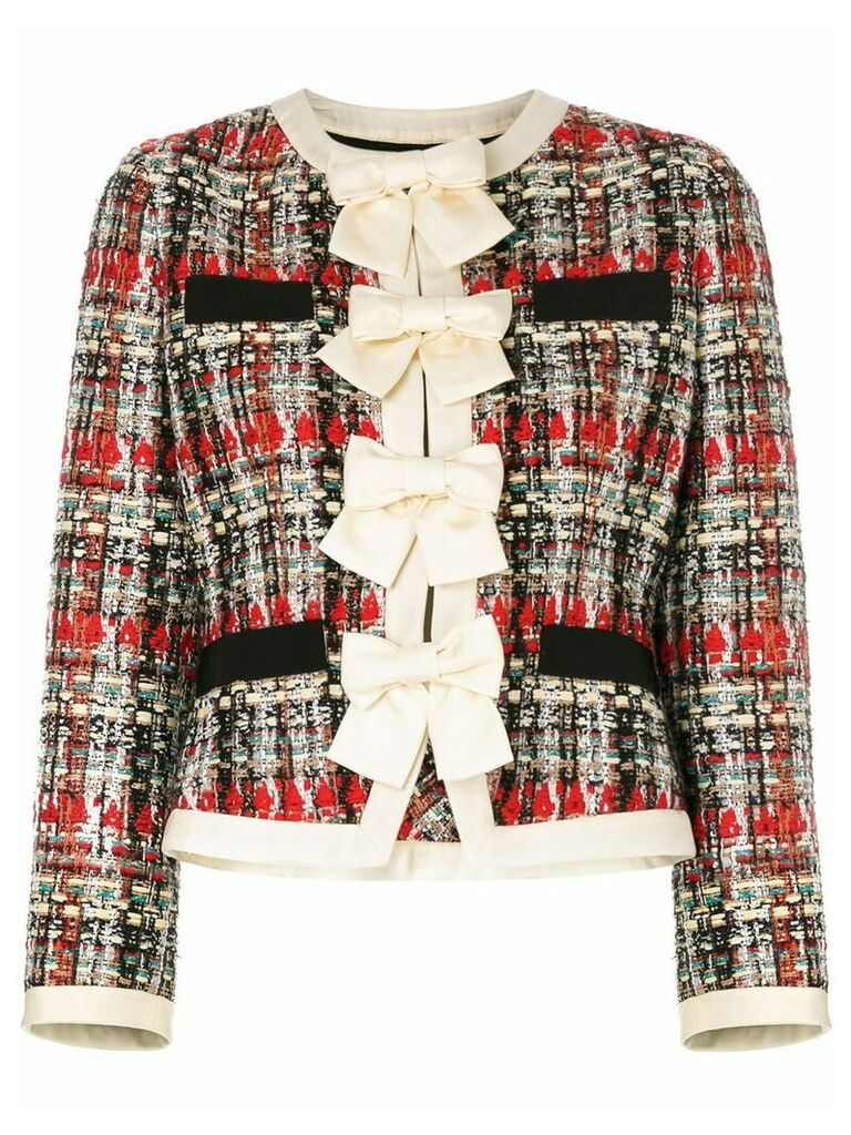 Gucci bow-embellished tweed jacket - Multicolour