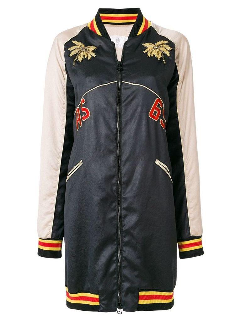 As65 colour-block zipped coat - Black