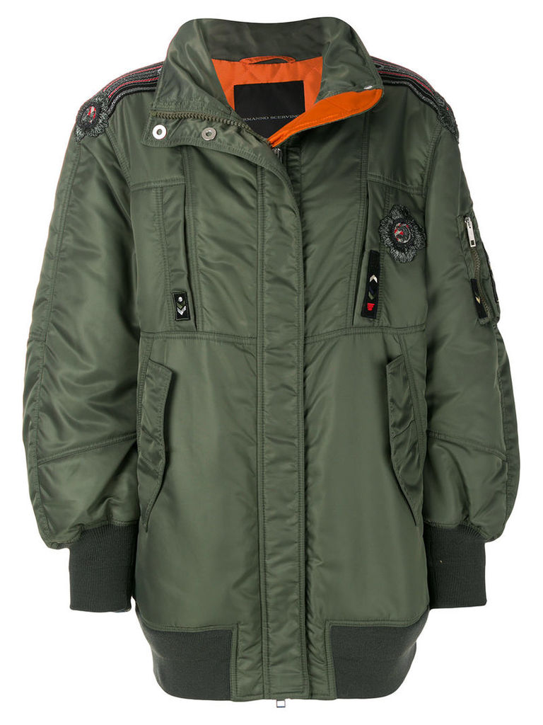 Ermanno Scervino oversized embroidered trim bomber jacket - Green