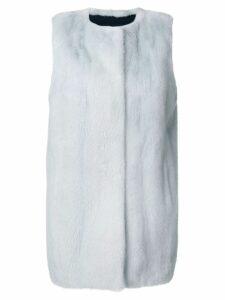 Yves Salomon long mink fur gilet - Blue