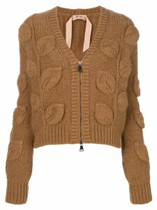 Nº21 V-neck leaf knit cardigan - Brown