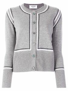 Thom Browne intarsia stripe cardigan - Grey