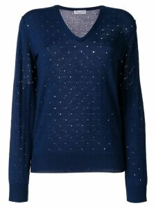 Sonia Rykiel elbow patch embroidered cutout detailed sweater - Blue