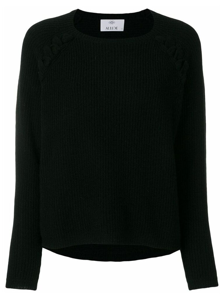 Allude lace detail ribbed sweater - Black