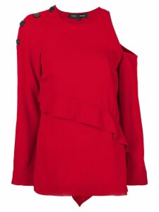Proenza Schouler cut-out shoulder and frill detail sweater - Red