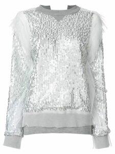 Sacai sequin embroidered sweatshirt - Grey