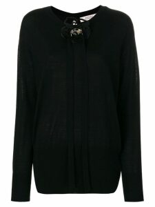 Dorothee Schumacher applique flower longline sweater - Black