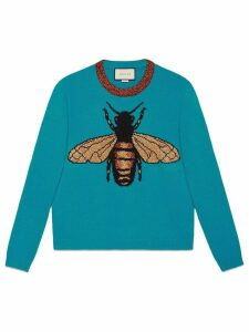 Gucci Bee wool knit sweater - Blue