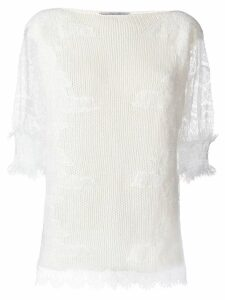 Ermanno Scervino lace sleeves jumper - White