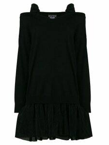 Boutique Moschino cold shoulder tulle skirted sweater dress - Black