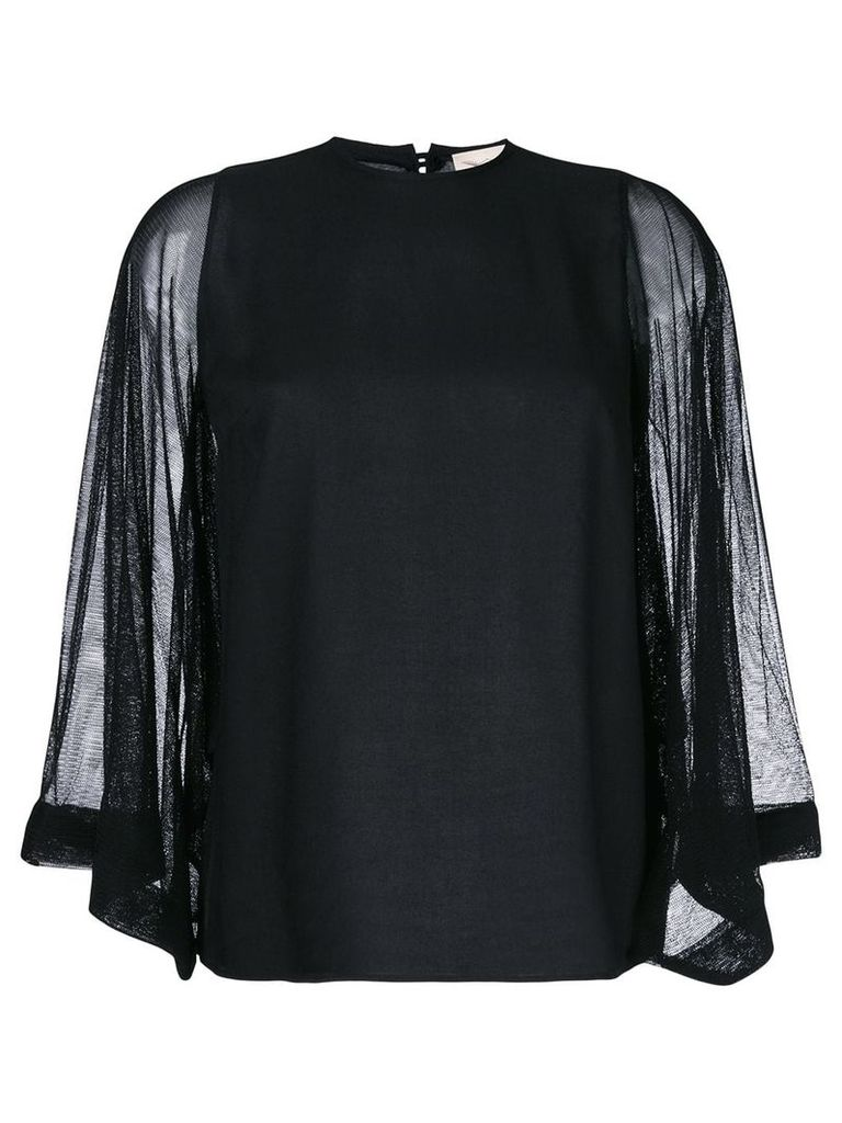 Ikonostas sheer sleeve top - Black