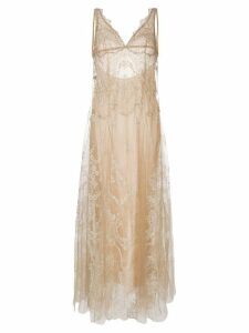 I.D.Sarrieri lace-embroidered shift night dress - Neutrals