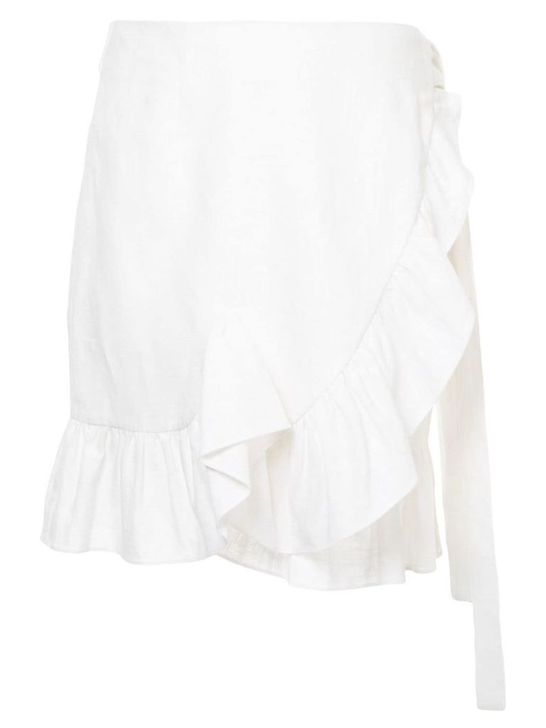 Goen.J ruffle-shirred wrap skirt - White