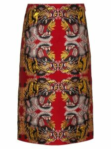 Gucci Lurex Jacquard Skirt - Red