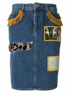 Jeremy Scott patchwork denim skirt - Blue