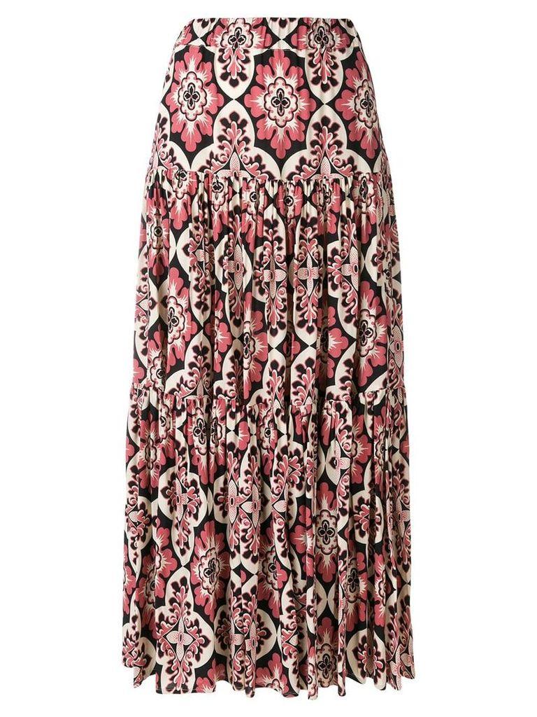 La Doublej vintage print tiered skirt - Black