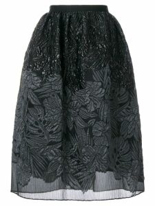 Talbot Runhof textured floral skirt - Black