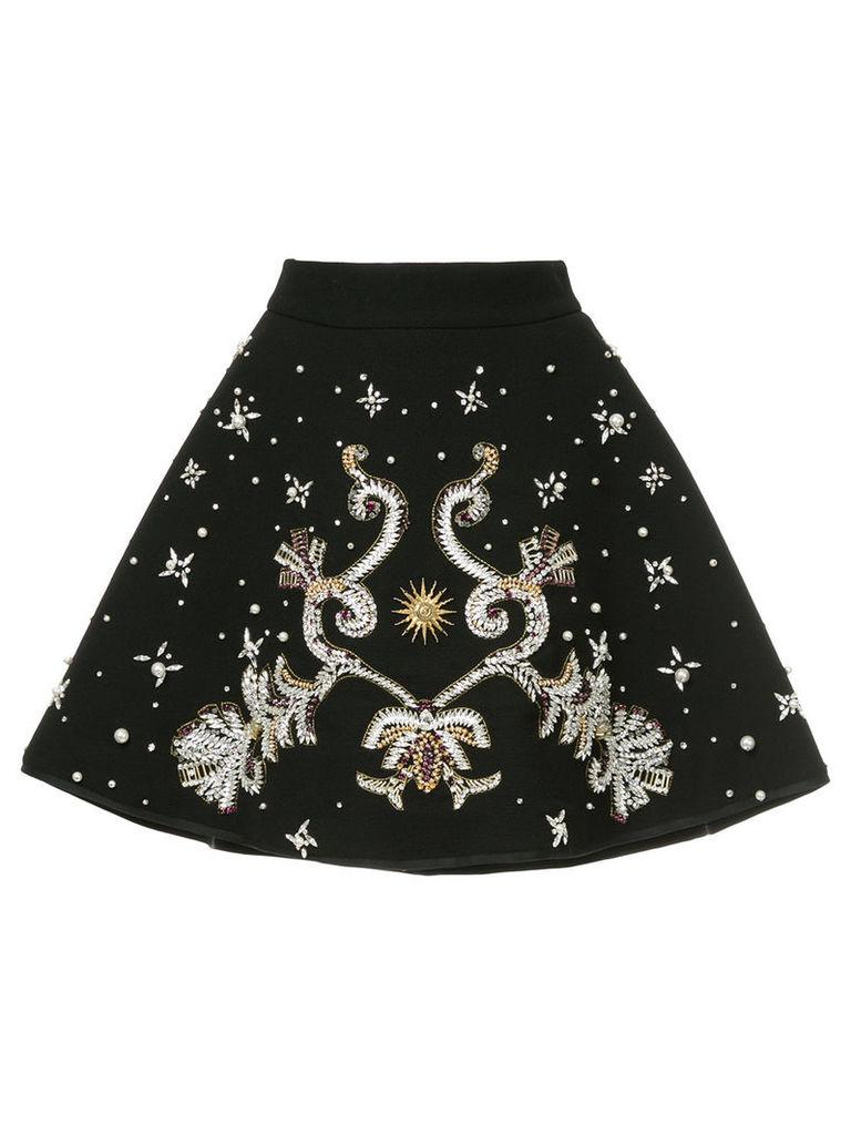 Fausto Puglisi bonded A-line embellished skirt - Black