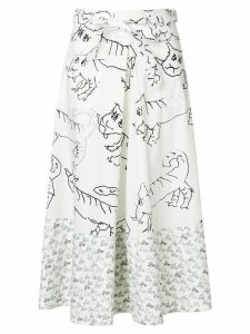 Marni printed midi skirt - White