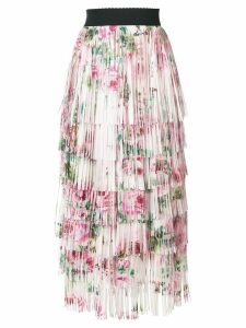 Dolce & Gabbana tiered fringed rose print midi skirt - Neutrals