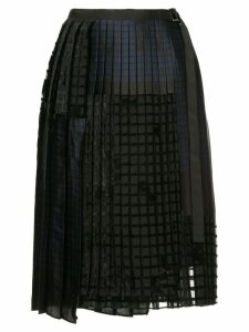 Sacai geometric pleated skirt - Black
