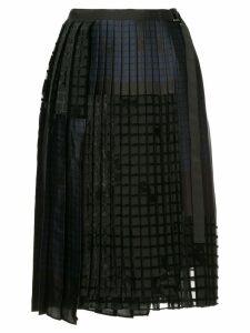 Sacai geometric pleated skirt - Black