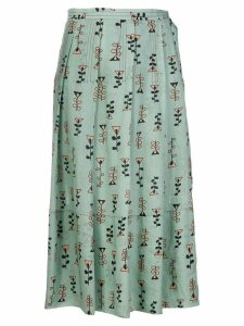 Marni novelty print pleated skirt - Green