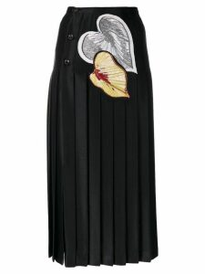 Marco De Vincenzo leaf appliqués pleated skirt - Black