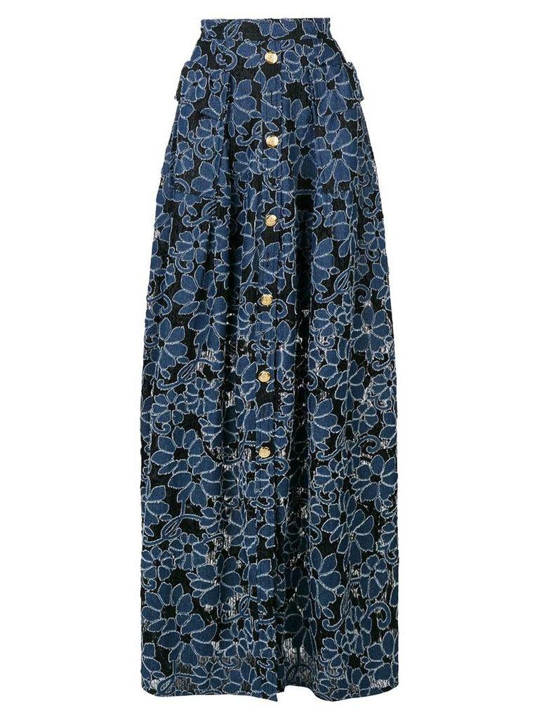 Talbot Runhof floral maxi skirt - Black