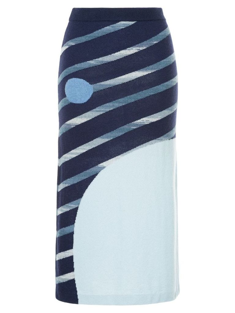 Onefifteen striped knitted skirt - Blue