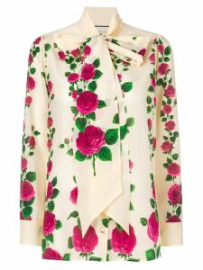 Gucci rose print pussybow blouse - Neutrals