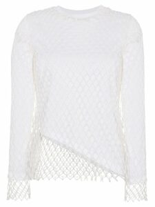 Marques'Almeida white net loose fit crew neck top