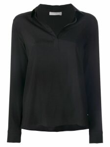 Le Tricot Perugia open collar blouse - Black
