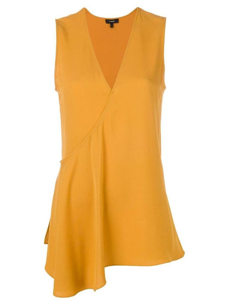 Theory v-neck asymmetric blouse - Orange