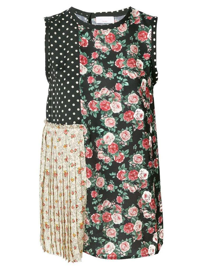 P.A.R.O.S.H. floral patchwork top - Black