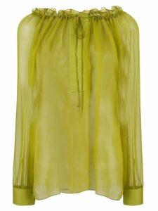 Alberta Ferretti semi sheer blouse - Green