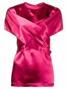 Sies Marjan wrap front short sleeve blouse - Pink