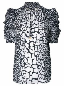 Michael Michael Kors patterned ruched sleeve blouse - White