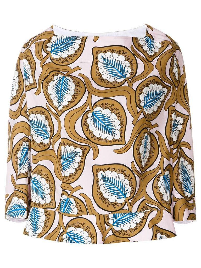 Marni foliage print oversized blouse - Multicolour