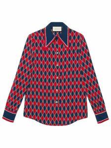 Gucci Gucci Rhombus print silk shirt - Blue