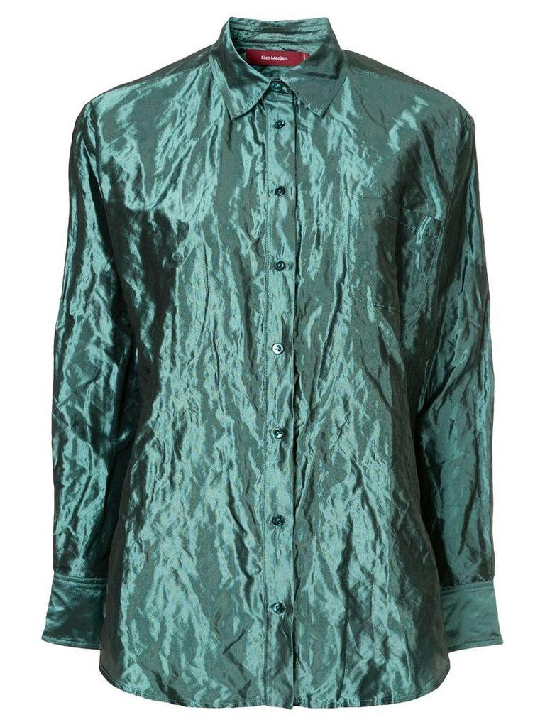 Sies Marjan crinkle-effect metallic shirt - Blue