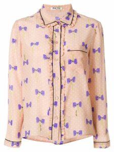 Miu Miu bow print shirt - Pink