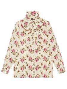 Gucci Rose print silk shirt - Neutrals