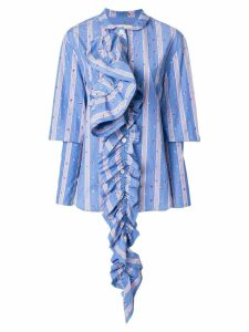 Marni striped ruffle detail shirt - Blue
