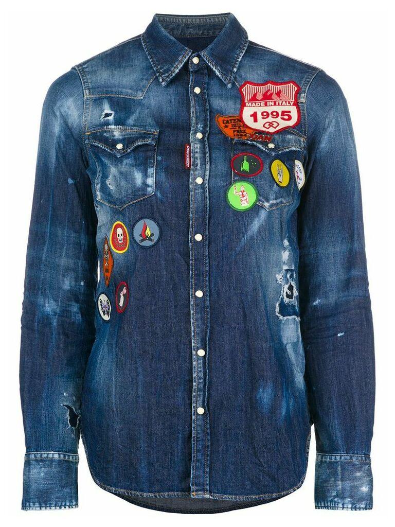 Dsquared2 distressed denim patch shirt - Blue