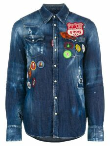 Dsquared2 distressed denim patch shirt - Blue