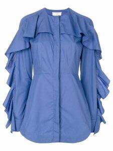 Sara Battaglia ruffled trim shirt - Blue